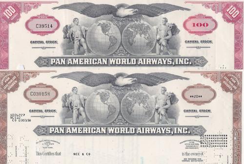 Pan American World Airways stock certificate set of 2 colors - red, brown