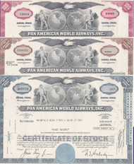 Pan American World Airways stock certificate set of 3 colors - red, brown, blue