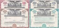 Pan American World Airways stock certificate set of 4 colors - red, brown, blue, aqua