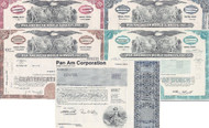 Pan American World Airways stock certificate set of 5 pieces - red, brown, blue, aqua & Pan Am Corp
