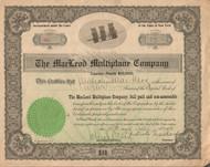 MacLeod Multiplane Company stock certificate 1911 - ITASB Malcolm MacLeod