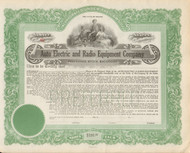 Auto Electric and Radio Equipment Company stock certificate circa 1920