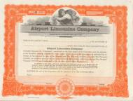 Airport Limousine Company 1946 stock certificate - orange