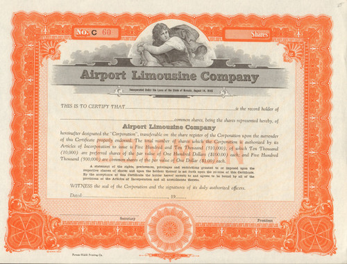 Airport Limousine Company 1946 stock certificate - orange