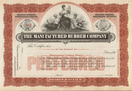 Manufactured Rubber Company stock certificate - brown