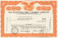 Mansfield Tire and Rubber Company stock certificate - orange