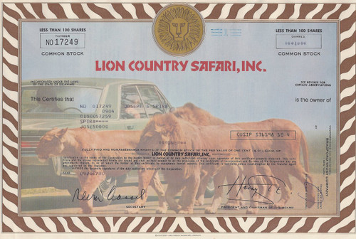 Lion Country Safari 1980 stock certificate