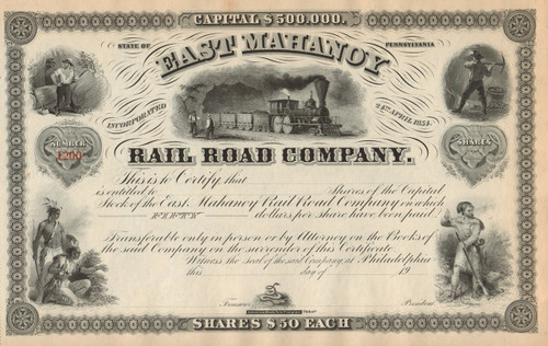 East Mahanoy Rail Road Company 1900 stock certificate