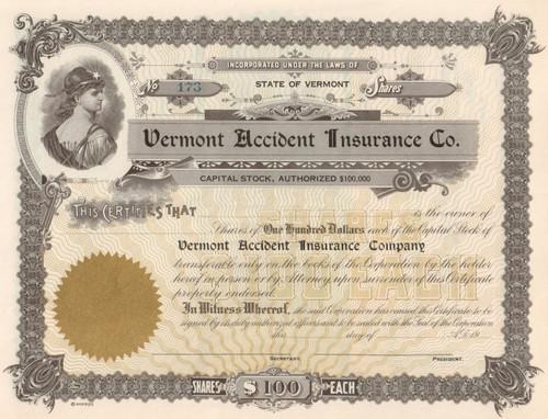 Vermont Accident Insurance Company circa 1961 stock certificate