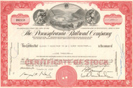 Pennsylvania Railroad (Horseshoe Curve) 1960's RED stock certificate