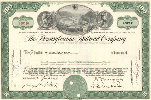 Pennsylvania Railroad (Horseshoe Curve) stock certificate - green