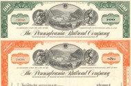 Pennsylvania Railroad (Horseshoe Curve) stock certificate - 2 colors set with green and orange