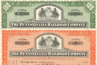 Pennsylvania Railroad (State Seal) stock certificate - set of 2 colors