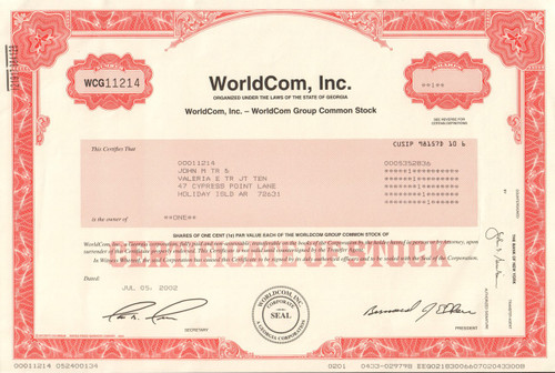 WorldCom Inc stock certificate - Bernie Ebbers as president