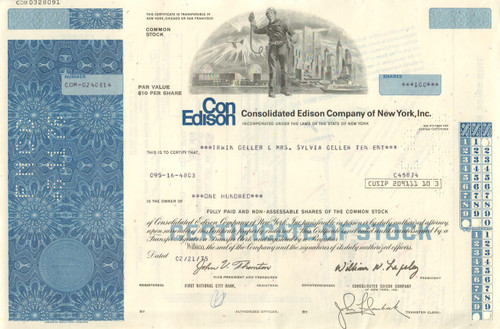 Con Edison Company of New York stock certificate 1970's - blue
