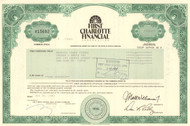First Charlotte Financial Corporation stock certificate 1993