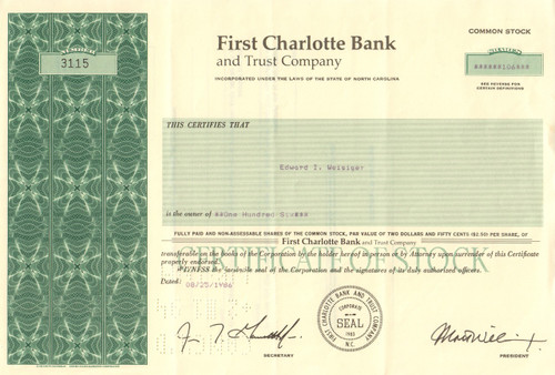 First Charlotte Bank and Trust Company stock certificate 1986