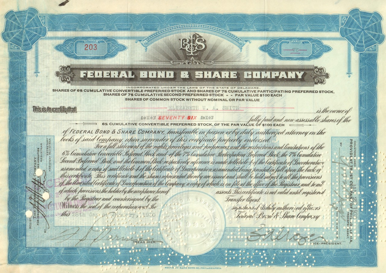 313ef978 Federal Bond and Share Company 1930's stock certificate