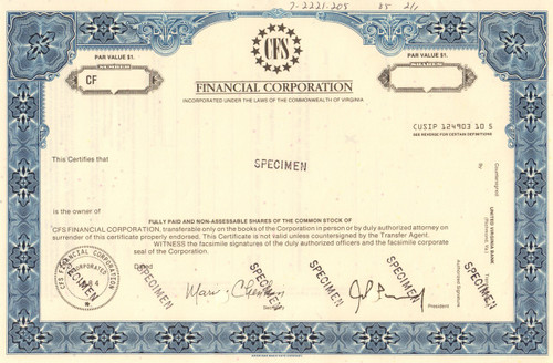 CFS Financial Corporation specimen stock certificate