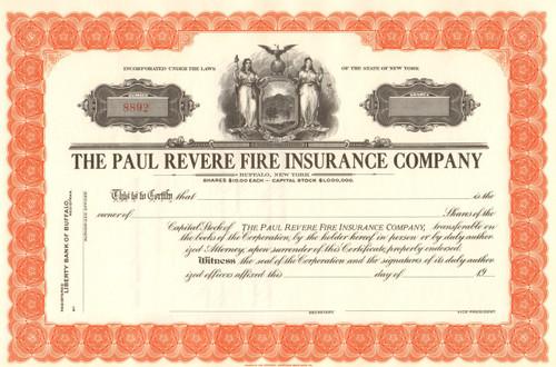 Paul Revere Fire Insurance Company circa 1930 stock certificate