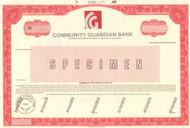 Community Guardian Bank - specimen (printed/stamped) stock certificate