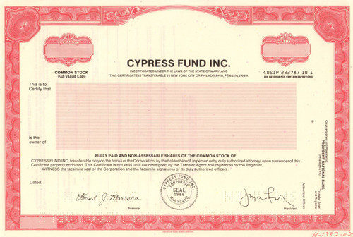 Cypress Fund Inc specimen stock certificate