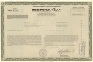Reno Air stock warrant certificate 1993