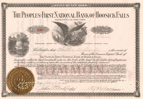 Peoples-First National Bank of Hoosick Falls stock certificate