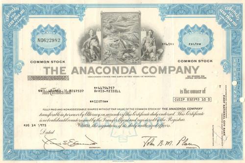 Anaconda Company 1970's stock certificate - Montana copper mining - blue