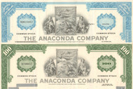 Anaconda Company  stock certificate - set of 2 colors
