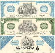 Anaconda Company  stock certificate - set of 3 certs