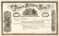 Peoples Savings Bank of McKeesport circa 1881 stock certificate