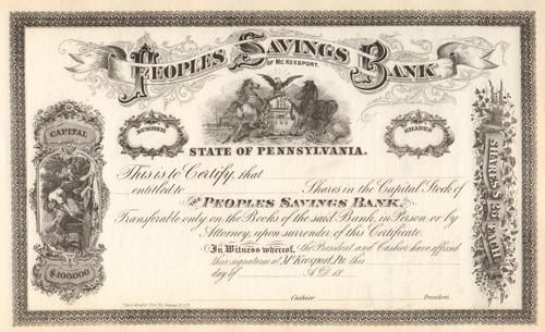 Peoples Savings Bank of McKeesport circa 1881 stock certificate