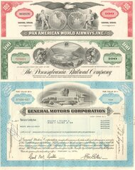 Planes, Trains, and Automobiles stock certificate set
