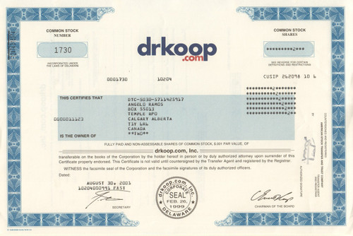 drkoop.com stock certificate 2001 - dot com bomb (C. Everett Koop)