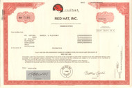 Red Hat inc. 2001 stock certificate