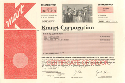 Kmart Corporation 2003 stock certificate