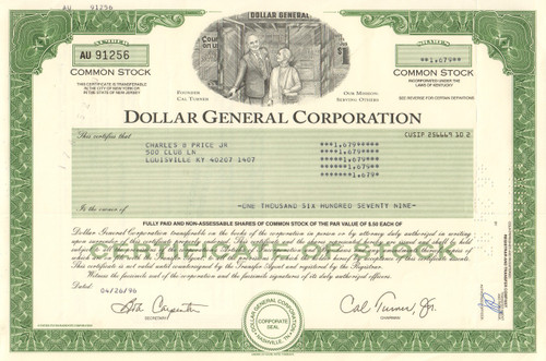 Dollar General Corporation 1996 stock certificate