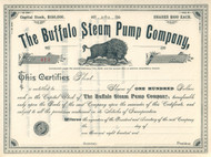 Buffalo Steam Pump Company circa 1889 stock certificate