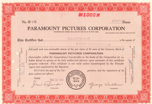 Paramount Pictures Corporation 1965 stock certificate