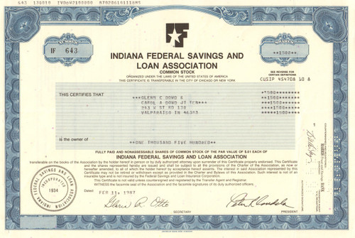 Indiana Federal Savings and Loan Association stock certificate 1987