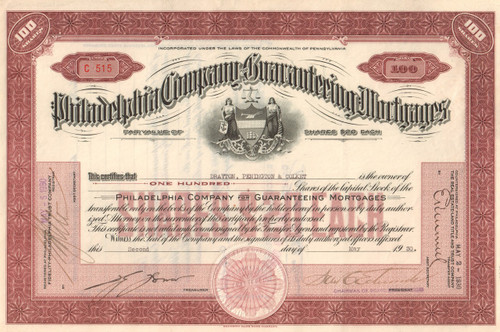 Philadelphia Company for Guaranteeing Mortgages stock certificate 1930