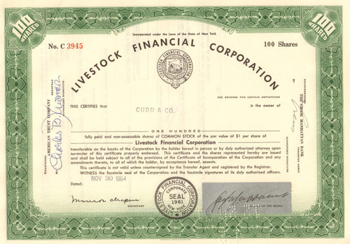 Livestock Financial Corporation stock certificate 1964