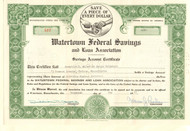 Watertown Federal Savings and Loan Association stock certificate 1957