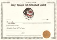 Harley-Davidson Club (Switzerland) Limited share certificate 1993