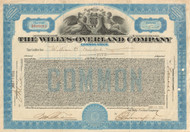 Willys-Overland Company (large format) 1930's stock certificate - blue