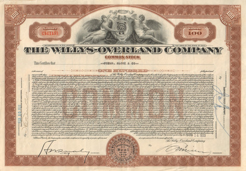Willys-Overland Company (large format) 1930's stock certificate - brown