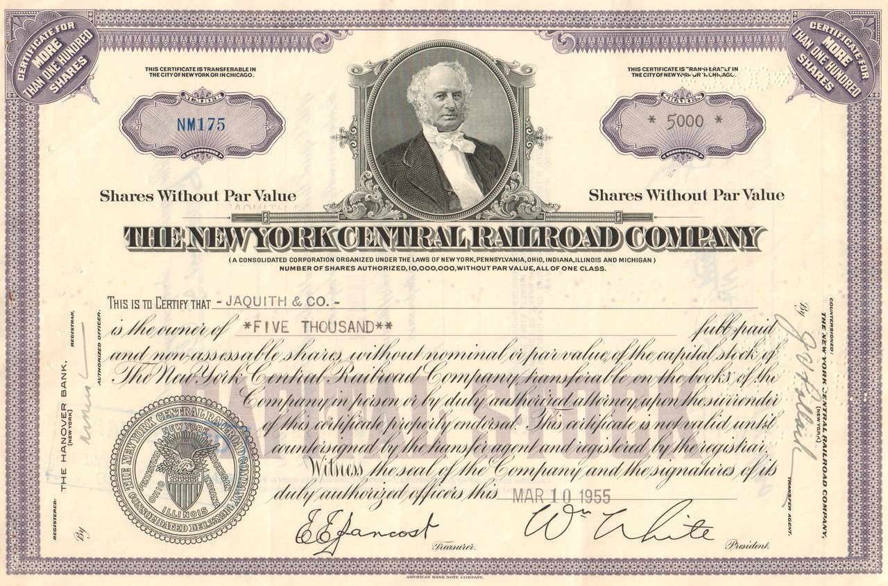 New York Central And Hudson River Railroad Company Bond Stock Certificate