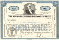 New York Central Railroad Company stock certificate - blue