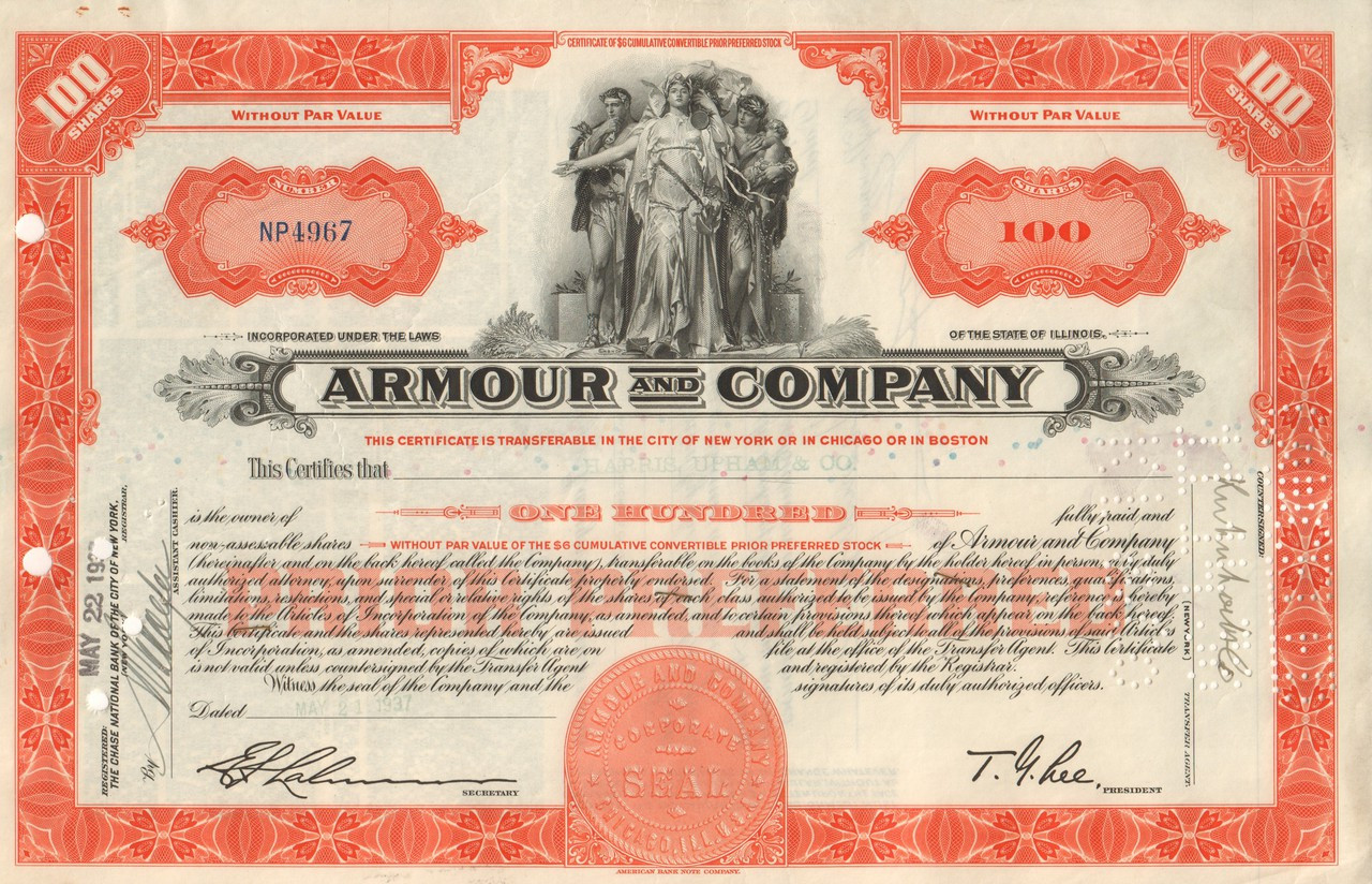 7df1d8a3 Armour and Company stock certificate - meat, soap, Purex, Brillo ...